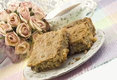 Coconut Pecan Blondies with Tea Stock Photos