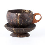 Coconut Peel wooden cup of coffee Royalty Free Stock Images
