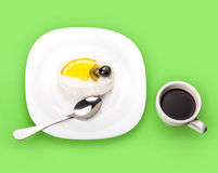 Coconut piece of cake and coffee cup Royalty Free Stock Photos