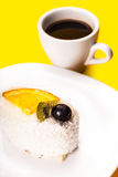 Coconut piece of cake and coffee cup Royalty Free Stock Image