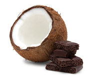 Coconut and pieces of chocolate isolated on white Royalty Free Stock Photo