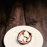 Coconut pieces on dark wooden background with copy space  for Stock Photography