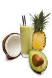 Coconut, pinapple, avocado juice with milk Royalty Free Stock Image