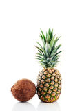 Coconut and pineapple over white Stock Image