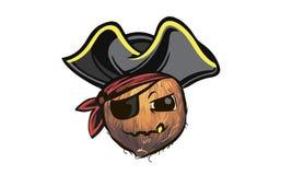 Coconut pirate. coconut in a pirate hat. a cartoon coconut pirat. E Stock Images