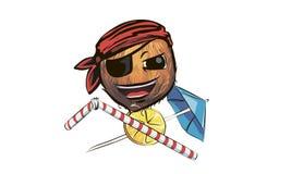 Coconut pirate. coconut in a pirate hat. a cartoon coconut pirat. E Stock Photos