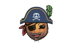 Coconut pirate. coconut in a pirate hat. a cartoon coconut pirat. E Royalty Free Stock Image