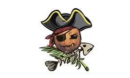 Coconut pirate. coconut in a pirate hat. a cartoon coconut pirat. E Stock Photography