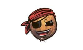 Coconut pirate. coconut in a pirate hat. a cartoon coconut pirat. E Stock Photo