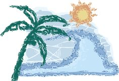 A coconut plant. Beach, wave and sun stock illustration