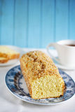 Coconut pound tea cake at teatime, summer Royalty Free Stock Image