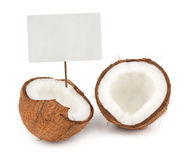 Coconut with price tag Royalty Free Stock Images