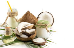 Coconut products, fresh fruit milk and oil Stock Photos