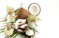 Coconut products, fresh fruit milk and oil Royalty Free Stock Photos