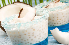 Coconut pudding with tapioca and litchi jelly Stock Image