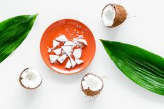 Coconut pulp on plate near cut coconut and palm leaves on white background top view Stock Photos