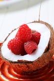 Coconut and raspberries Stock Photo
