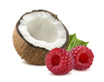 Coconut raspberry 1 isolated on white background Royalty Free Stock Photos