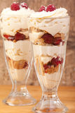 Coconut, raspberry and lemon trifle Stock Photography