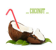 Coconut with red straw Royalty Free Stock Images