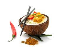 Coconut, rice and curry chicken isolated Royalty Free Stock Photography