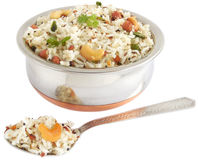 Coconut Rice. In a steel bowl Stock Photo