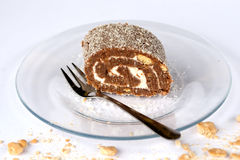 Coconut roll still life. Delicious coconut roll from Hungary Stock Images