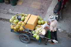 Coconut seller, Cambodia Royalty Free Stock Photography