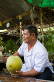 Coconut Seller at Damnoen Saduak Floating Market, Thailand Stock Image