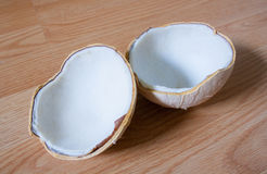 Coconut shell with coconut Royalty Free Stock Image