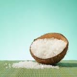 Coconut shell full of salt Stock Photos
