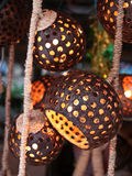 Coconut shell lamp. Lamp make from coconut shell and rope Stock Photos