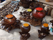 Coconut shell lamp Stock Image