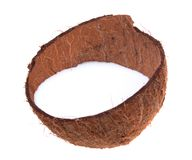 Coconut shell with milk. On white background royalty free stock photos