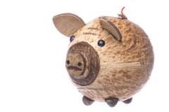 Coconut Shell Piggy Bank Isolated Stock Image