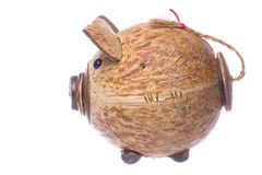 Coconut Shell Piggy Bank Isolated Stock Photos