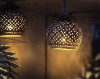 Coconut shell product, Lamp made from coconut shells Royalty Free Stock Photography