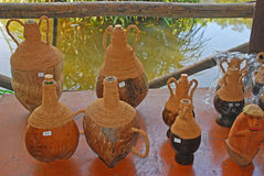 Coconut Shell Souvenir. Souvenir made from Coconut Shell including carved item on display in a spice plantation in Goa royalty free stock images
