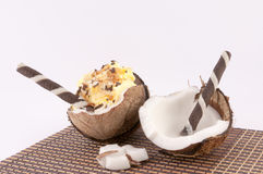 Coconut, Shells and Coconut Sweets. Coconut, shells and bamboo mat on a white background stock photography