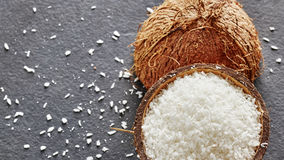 Coconut shreds on a dark slate background Royalty Free Stock Image