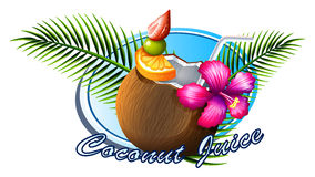 Coconut sign with text Stock Photos