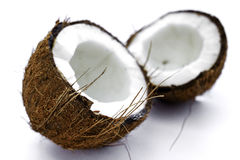 Coconut. Sliced coconut on a white background Stock Images