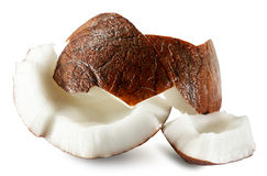 Coconut slices isolated on white background Stock Images