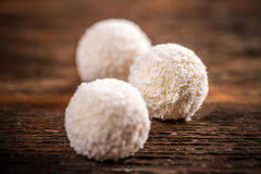 Coconut snowball white truffles royalty free stock images
