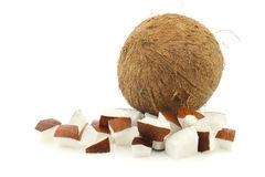 Coconut and some cut pieces Stock Image