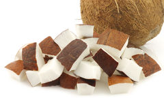 Coconut and some cut pieces Stock Photo