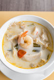 Coconut soup with shrimp Stock Images
