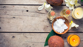 Coconut spa setting. Royalty Free Stock Image