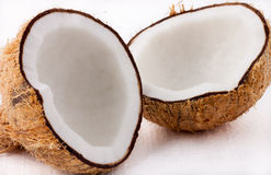 Coconut. Split into two for stock images royalty free stock photo