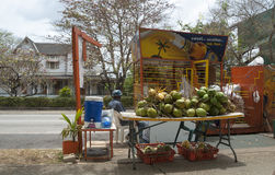 Coconut stand, Port of Spain, Trinidad Royalty Free Stock Photos